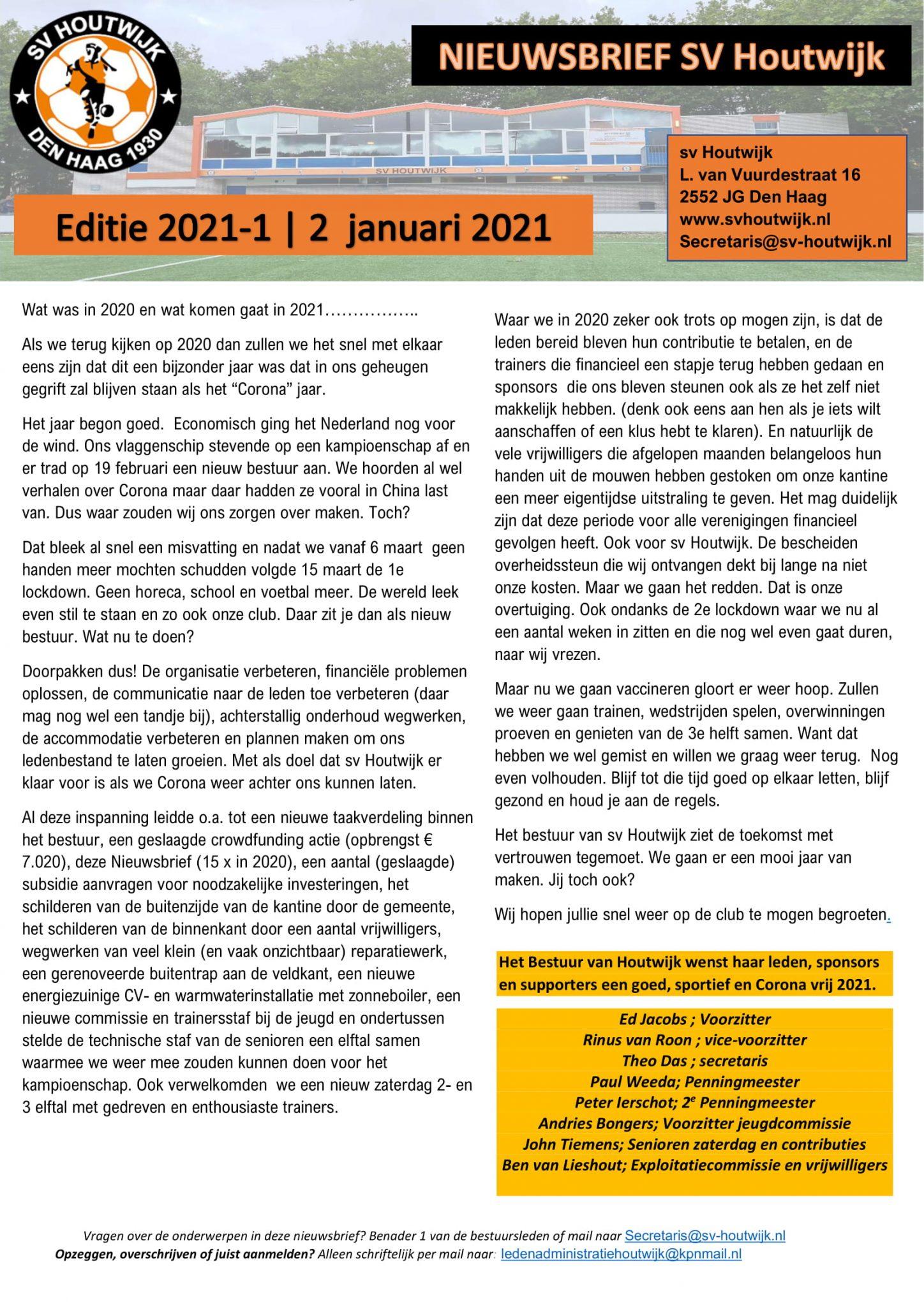 NieuwsBrief 2 Januari 2021